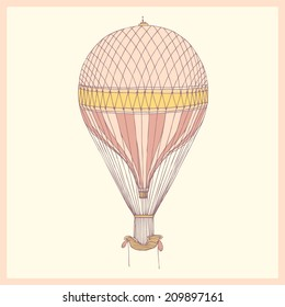 hand drawn retro air balloon