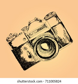 hand drawn retro camera illustration