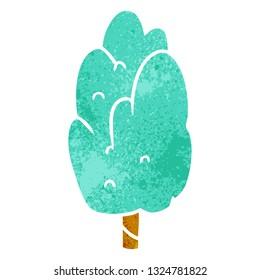 hand drawn retro cartoon doodle single green tree