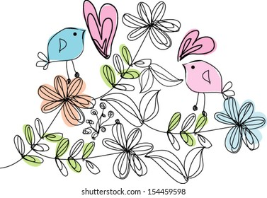 hand drawn retro flowers and birds