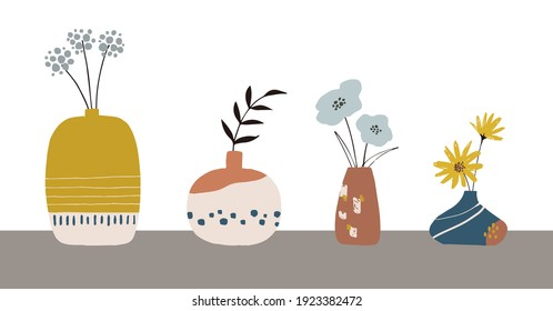 Hand drawn retro flowers and vases. Whimsical and quirky flowers and vases in retro modern colors.