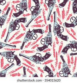 Hand drawn retro gun seamless pattern with feathers