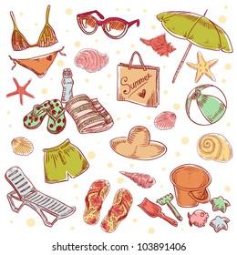 Hand drawn retro icons summer beach set on a grunge paper background