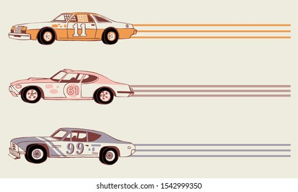 Hand drawn retro racing cars. Moving sport cars. Grand Prix background. Side View. The 1970's