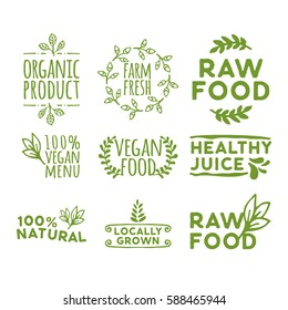 hand drawn retro set of organic product, farm fresh, raw food, healthy juice, 100% vegan menu, vegan food, healthy juice, locally grown and other natural badge