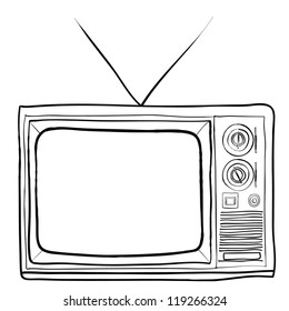 hand drawn retro TV vector