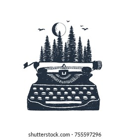 Hand drawn retro typewriter and pine forest textured vector illustrations.