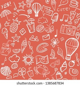 Hand drawn retro vector doodle pattern of summer and media elements. Seamless cartoonish pattern.