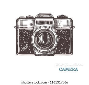 Hand drawn retro or vintage camera. Isolated vector illustration in sketch engraving style