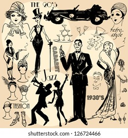 Hand drawn retro women and men of twenties, sketch, 20s, 30s
