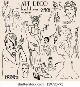 Hand drawn retro women of twenties, sketch,  20s, 30s
