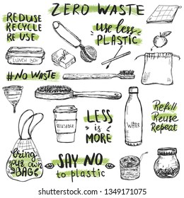 Hand drawn reusable and recycable items, like wooden tooth brush, shopper, water bottle and others. Zero waste concept.