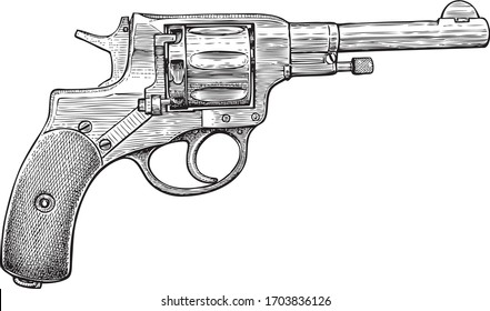 Hand drawn of revolver of the system 1895 years