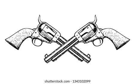 Hand drawn revolvers vector illustration. Guns sketch. Vintage illustration. Engraved style.