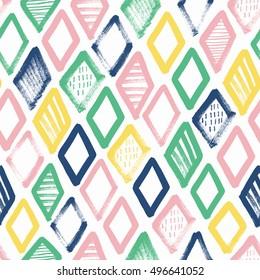 Hand drawn rhombus seamless pattern. Surface design. Vector illustration.