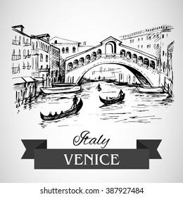 Hand drawn Rialto Bridge, Venice