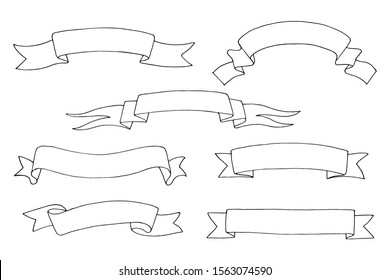 Hand drawn ribbon banners, classic universal elements  sketched set white isolated