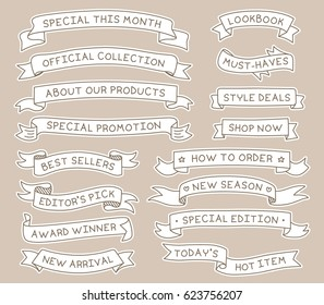 Hand Drawn Ribbon Banners Set with Handwritten Messages. Design Element.