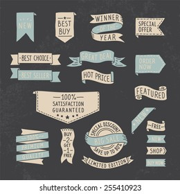 Hand drawn ribbons / banners set with handwritten messages on grunge background. Vector illustration.