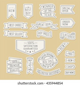 Hand drawn ribbons / banners set with handwritten messages on kraft paper background. Vector illustration