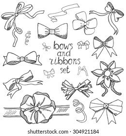Hand drawn ribbons and bows set vector illustration. A collection of graphic ribbons and bows, design elements set isolated.