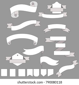 Hand Drawn Ribbons on grey background