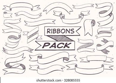 Hand Drawn Ribbons Pack for light backgrounds