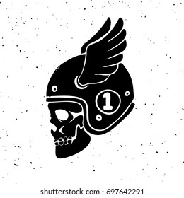 Hand drawn rider skull with wings. Design element for logo, label, emblem, sign. Vector illustration