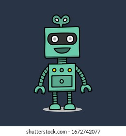 Hand drawn robot isolated on blue background