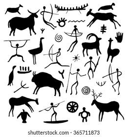 Hand drawn rock drawings. Black petroglyph set on white background