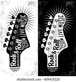 Hand drawn Rock festival poster. Rock and Roll sign