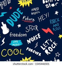 Hand drawn rock n roll elements. Rock star about doodle illustration. Vector illustration. Hand drawing slogans and icons vector.