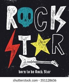 Hand drawn Rock Star typography.