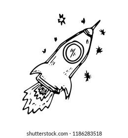 Hand drawn rocket doodle icon. Hand drawn black sketch. Sign symbol. Decoration element. White background. Isolated. Flat design. Vector illustration.