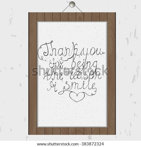 hand drawn romantic poster thank you stock vector royalty free