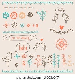 hand drawn romantic set with birds, hearts and floral elements