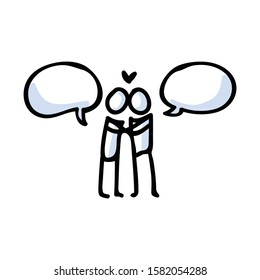 Hand Drawn Romantic Stick Figure Couple Kissing. Concept of Love Relationship. Simple Icon Motif for Dating Speech Bubble. Heart, Romance, Valentines Day, Anniversary Bujo Illustration.Vector EPS 10.