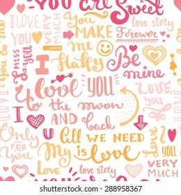 Hand drawn romantic typography. Vector lettering seamless background.