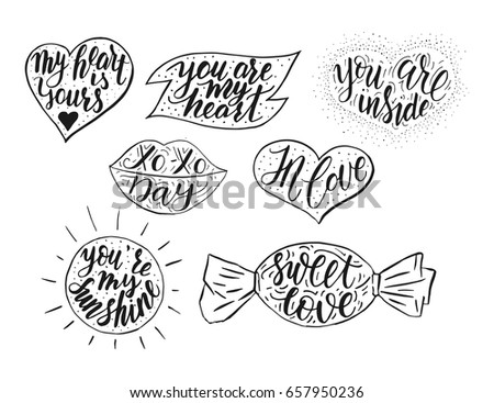 Hand Drawn Romantic Vector Quote Set Stock Vector Royalty Free