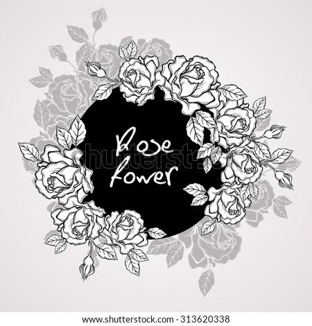 hand drawn rose flower wreath vintage stock vector royalty free