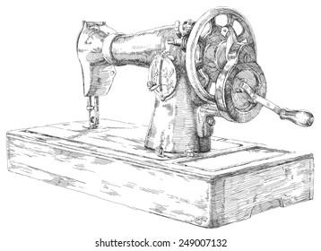 Hand drawn rose sewing machine