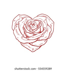Hand drawn rose in the shape of heart. Vector template.
