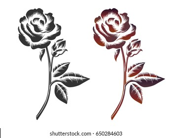 Hand drawn roses on white background. Vector icons of black and wine color roses