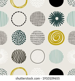 Hand drawn round decor abstract elements in rows.  Isolated vector colorful seamless pattern on light background.