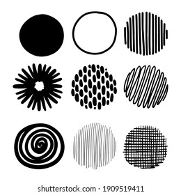 Hand drawn round decor set. Bullet journal web visual note sketch elements. Isolated monochrome graphic vector object set.
