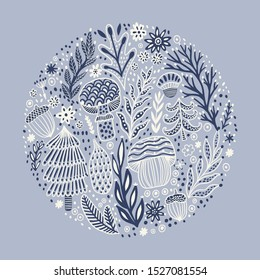 Hand drawn round design vector illustration. Winter greeting card. Circle floral design made of flowers Perfect for wedding invitations, greeting cards, blogs, prints and more