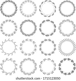 Hand drawn round frame and wreath isolated on white background. Hand sketched design element. Unique and ready to use for decoration.