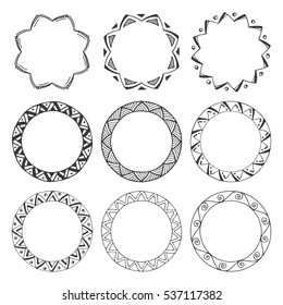 hand drawn round frames, decorative design elements, circle ornaments