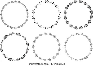 Hand drawn round frames and wreaths isolated on white background. Hand sketched design elements. Unique and ready to use.