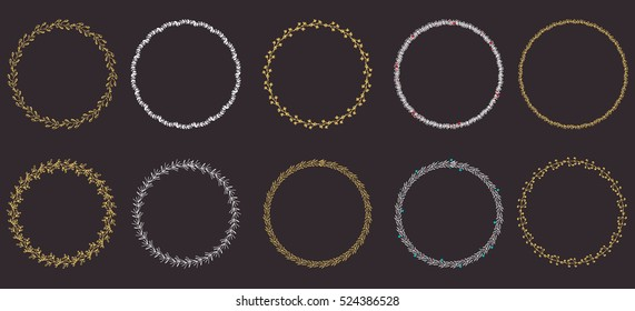 Hand drawn round frames and wreaths isolated on black background. Hand sketched design elements with gold and white color. Unique and ready to use!